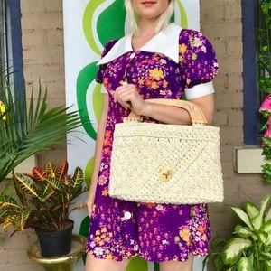 Vintage boho handmade woven Philippines handbag